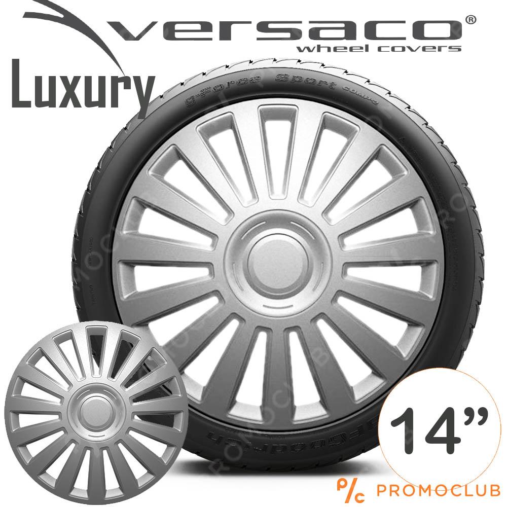 4 автомобилни тасове VERSACO LUXURY SILVER, размер 14 цола, висок клас
