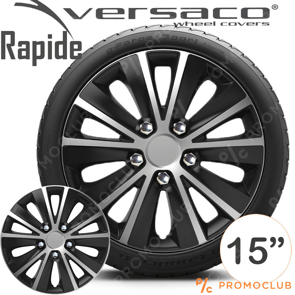 4 автомобилни тасове VERSACO RAPIDE Silver and Black, размер 15 цола, висок клас