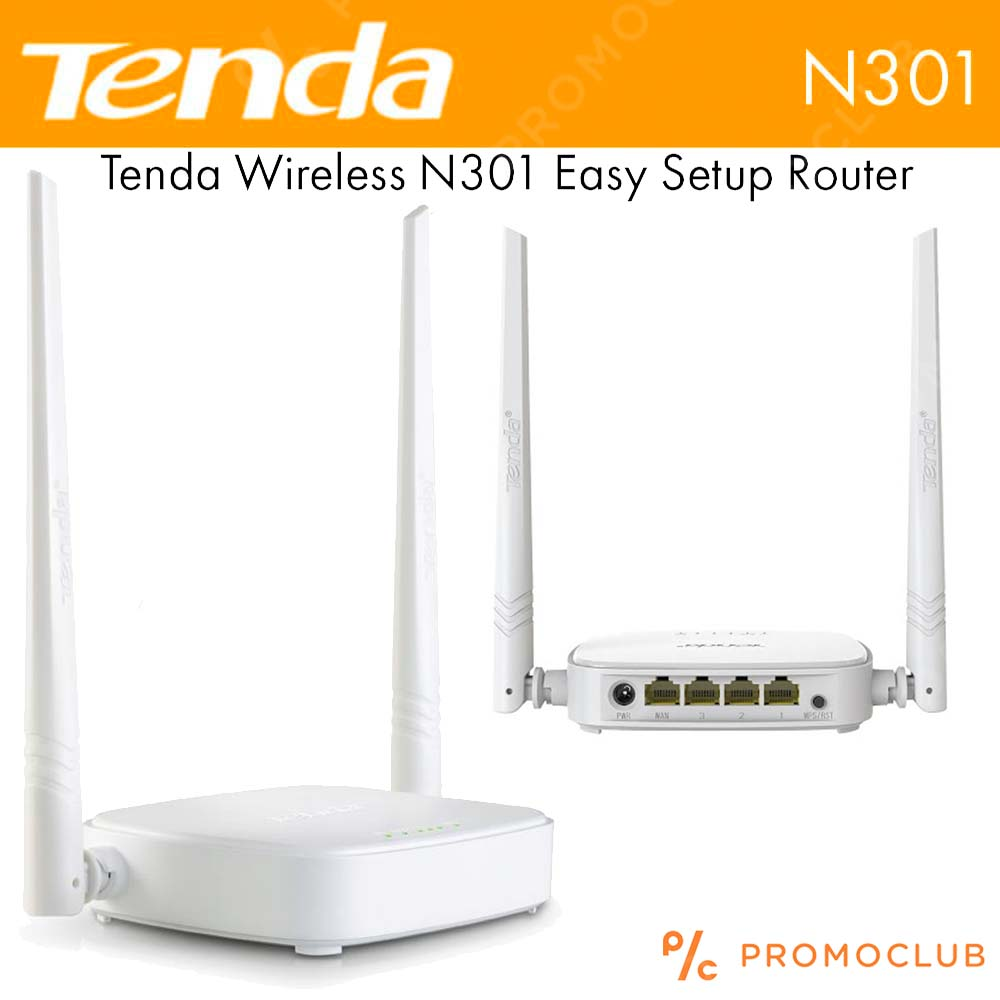 WiFi Green Wireless Router TENDA N301 300MBPs, 2.4 GHz,