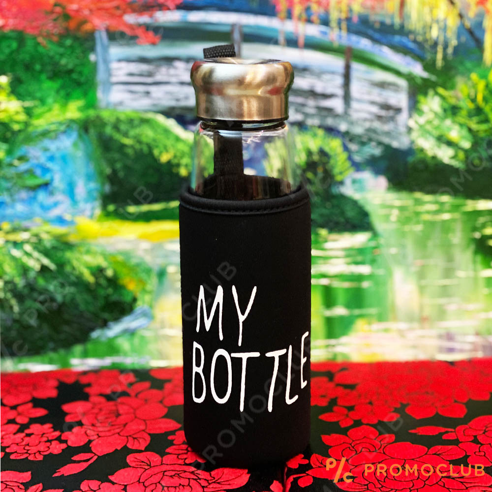 Стъклена EKO бутилка в термо-ударо-устойчив кобур MY BOTTLE, 420 ml.