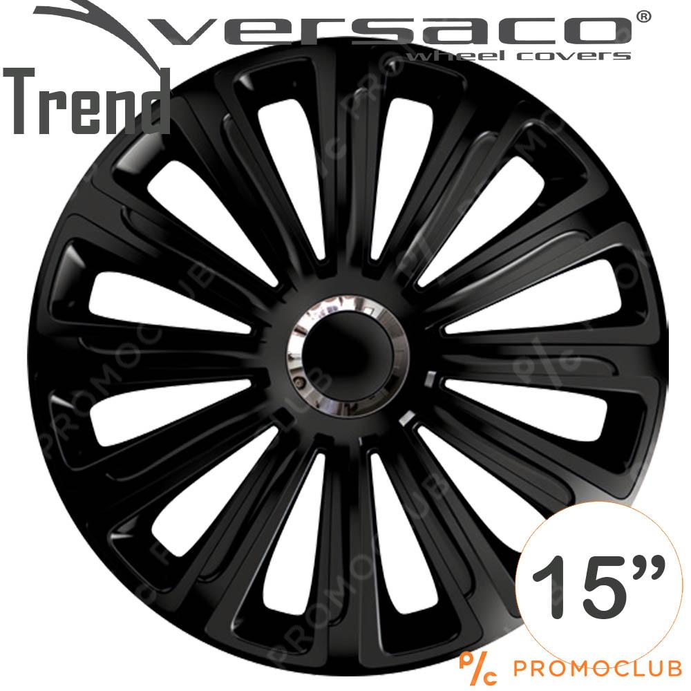 4 автомобилни тасове VERSACO TREND BLACK, размер 15 цола, висок клас