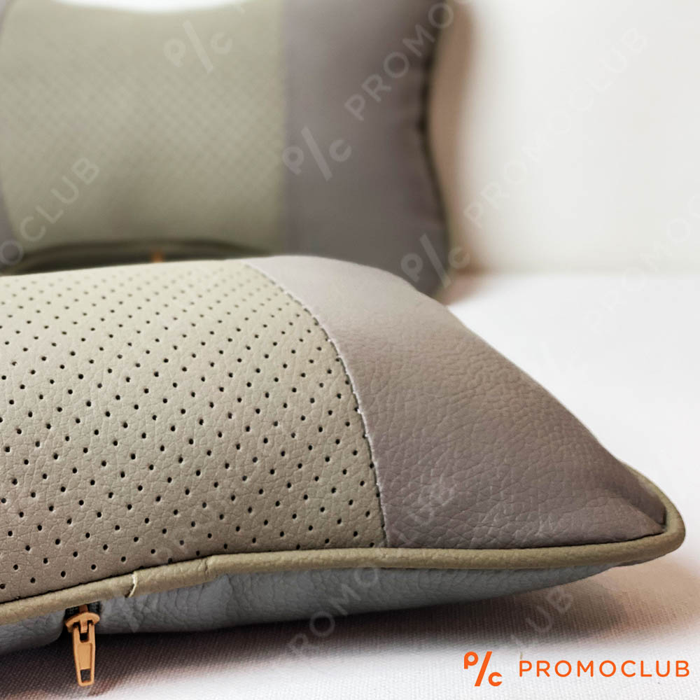 Луксозна кожена авто възглавничка GREY PILLOW вентилирана, анатомична, 1 бр.