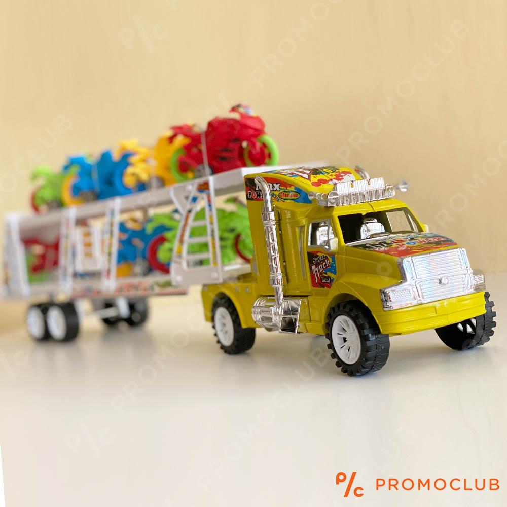 Голям камион автовоз с откачащо се ремарке и осем мотоциклета, дължина 50 см, 2+