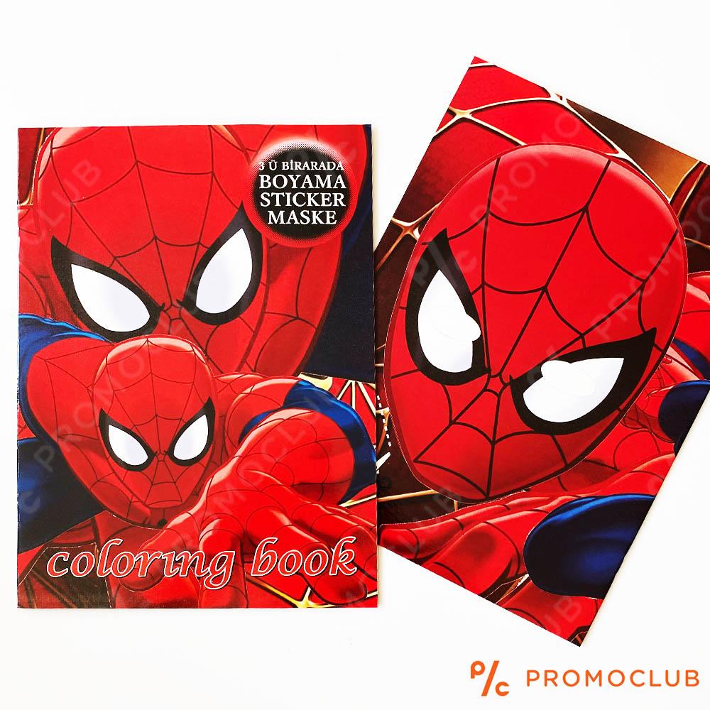 Книжка за оцветяване СПАЙДЪРМЕН, множество страници и десетки стикери-лепенки