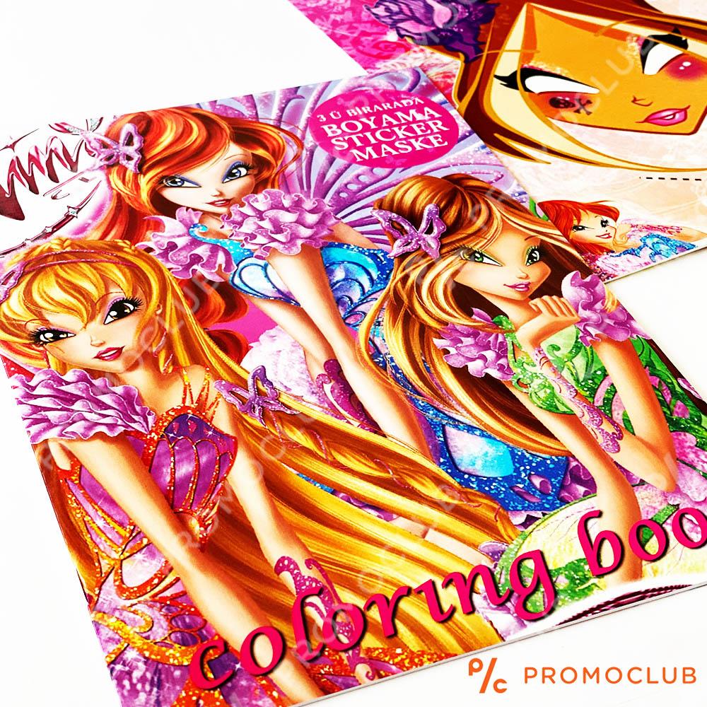 Книжка за оцветяване WINX, множество страници и десетки стикери-лепенки