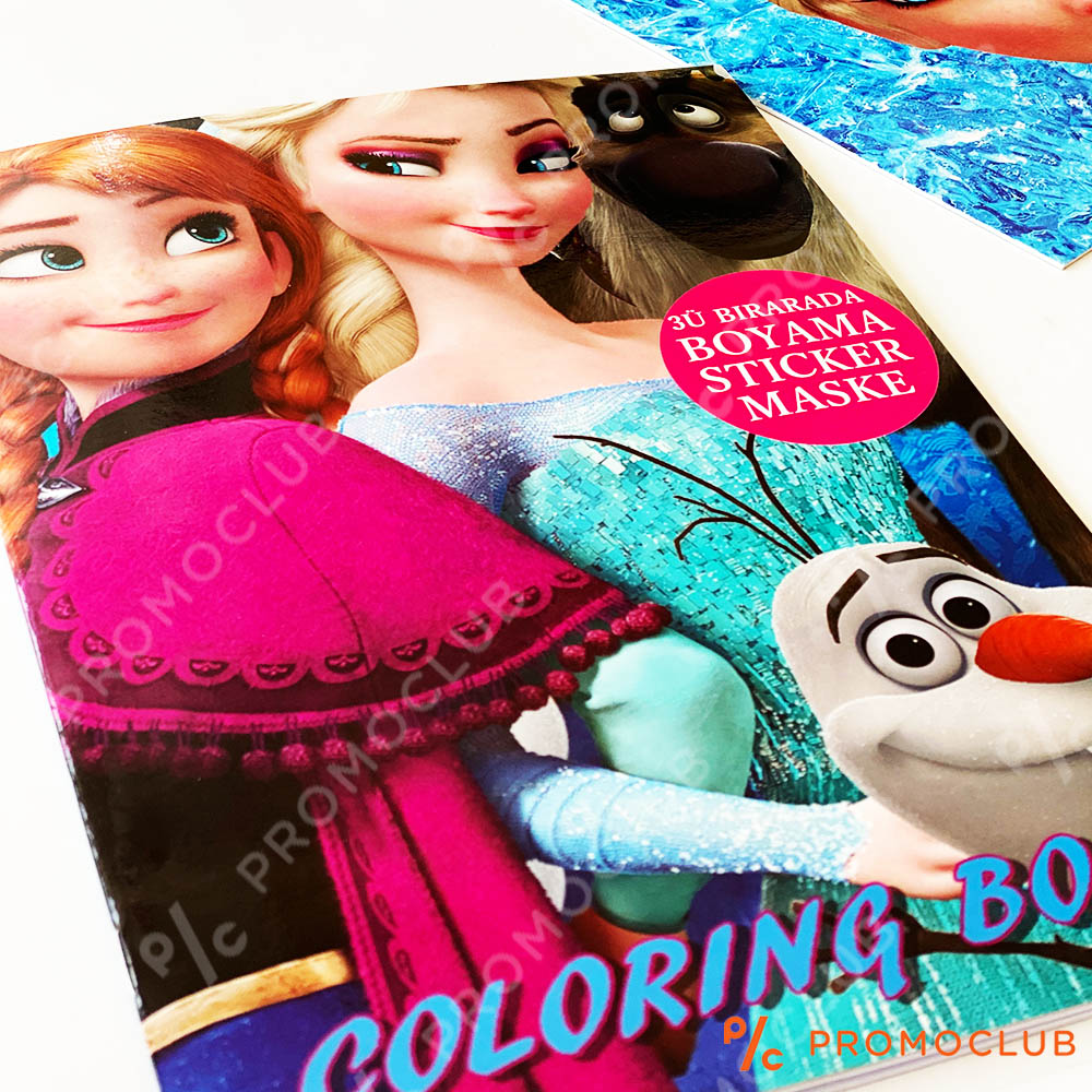 Книжка за оцветяване с Ледените принцеси, множество страници и десетки стикери-лепенки
