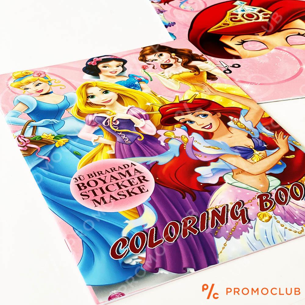Книжка за оцветяване ВСИЧКИ ПРИНЦЕСИ, множество страници и десетки стикери-лепенки