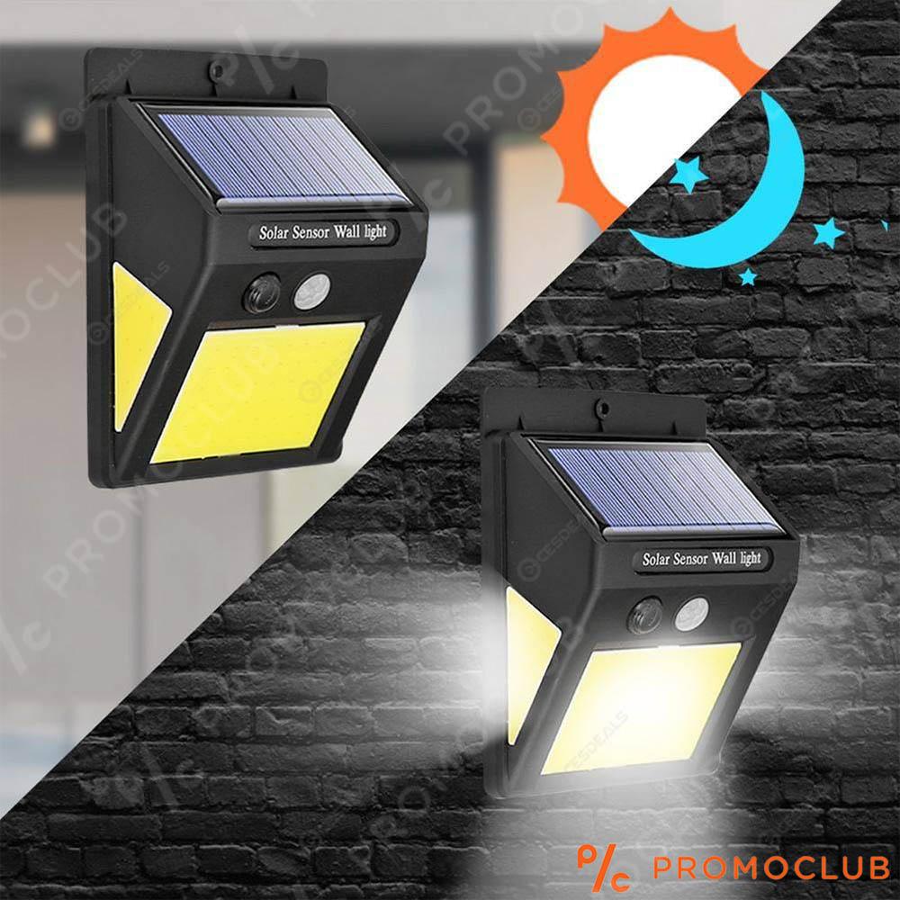 Най-мощната соларна LED лампа с датчик за движение и вградена батерия, 60 LED COB SMD