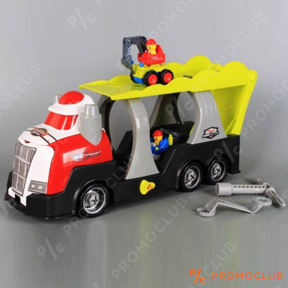 Голям камион автовоз MIGHTY TRUCK 83 см., с инструменти и строителни машини, 3+