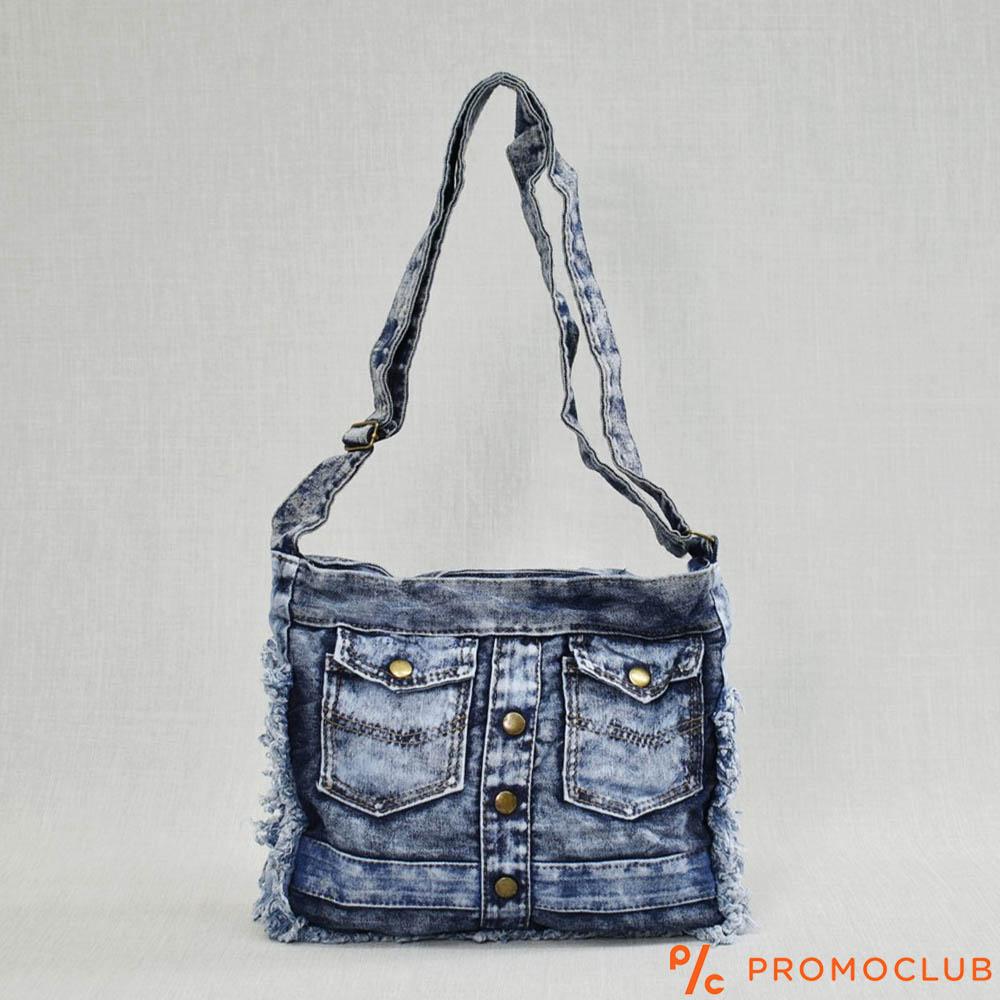 Denim Jeans BAG  11364-12 DOUBLE POCKET - дамска чанта за през рамо