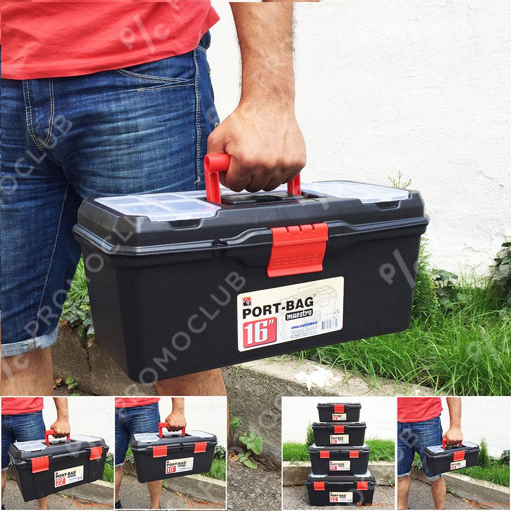 Професионален куфар за инструменти 16 инча, здрав, обемен, с множество отделеня и дръжка