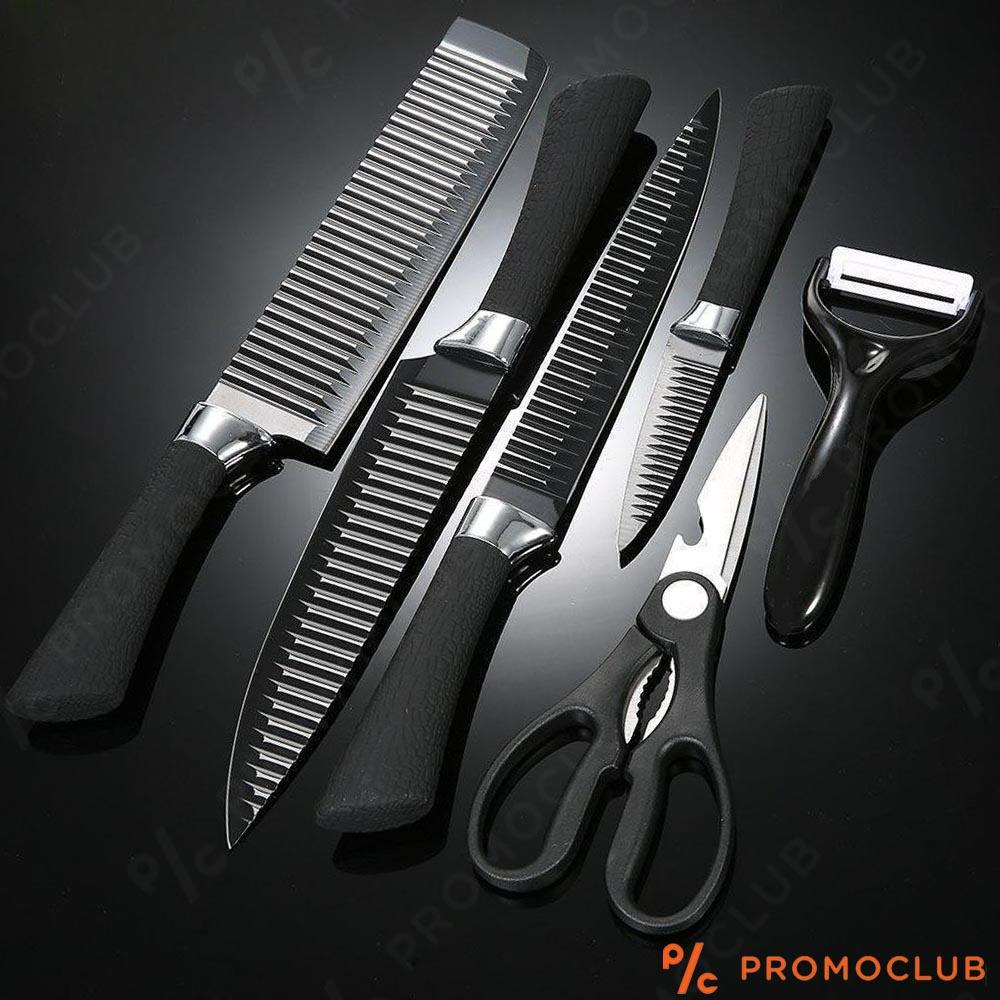 Иновативни швейцарски кухненски ножове KING B0011 de LUX в 6 части, незалепващи, X30cr13