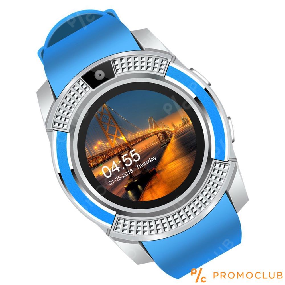 Стилен смарт часовник V8 BLUE с блутут, камера и SIM карта, смарт телефон на ръката ти