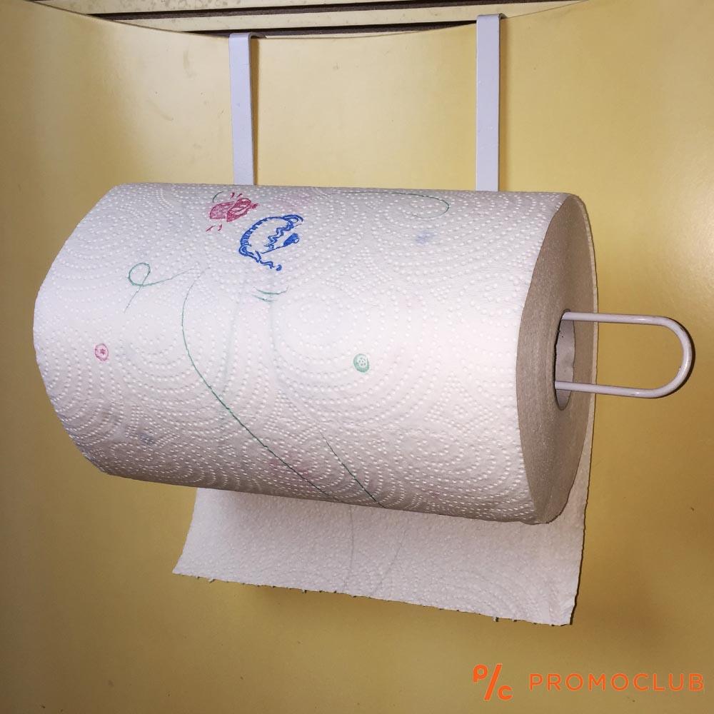 Закачаща се стойка за кухненска хартия, метална, бяла