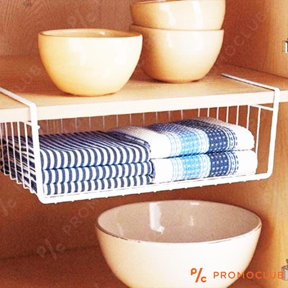 Метална кошница - органайзер, закачаща се, за кухня и гардероб HANGING SHELF BASKET, WHITE