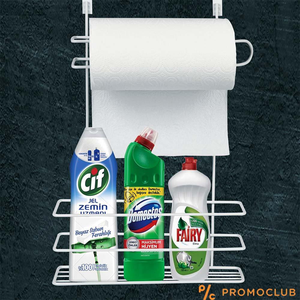 Органайзер стелаж за кухненска хартия и препарати, за кухня, баня и килер