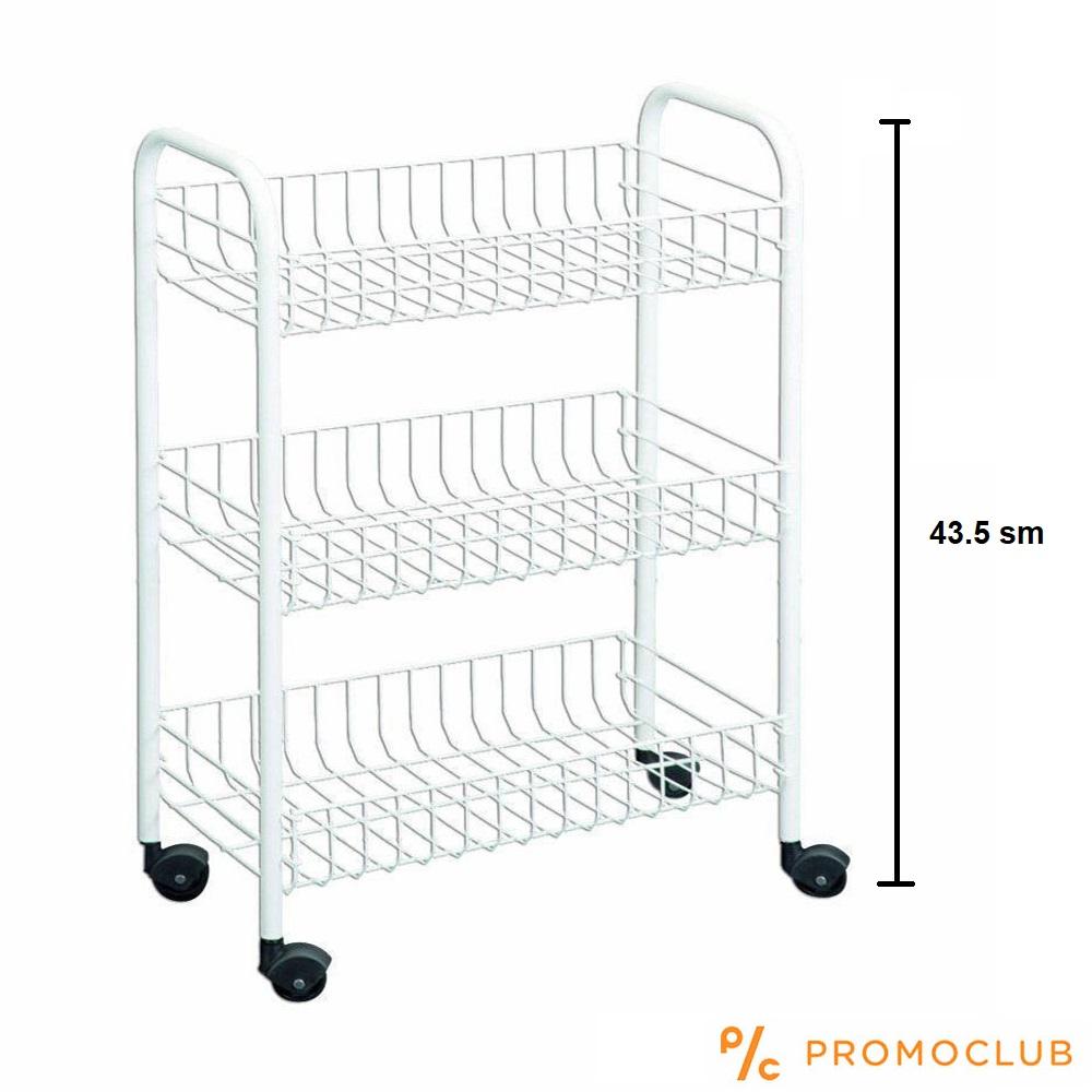 Компактна кухненска етажерка на колела с три рафта, метална, висока 43 см, бяла