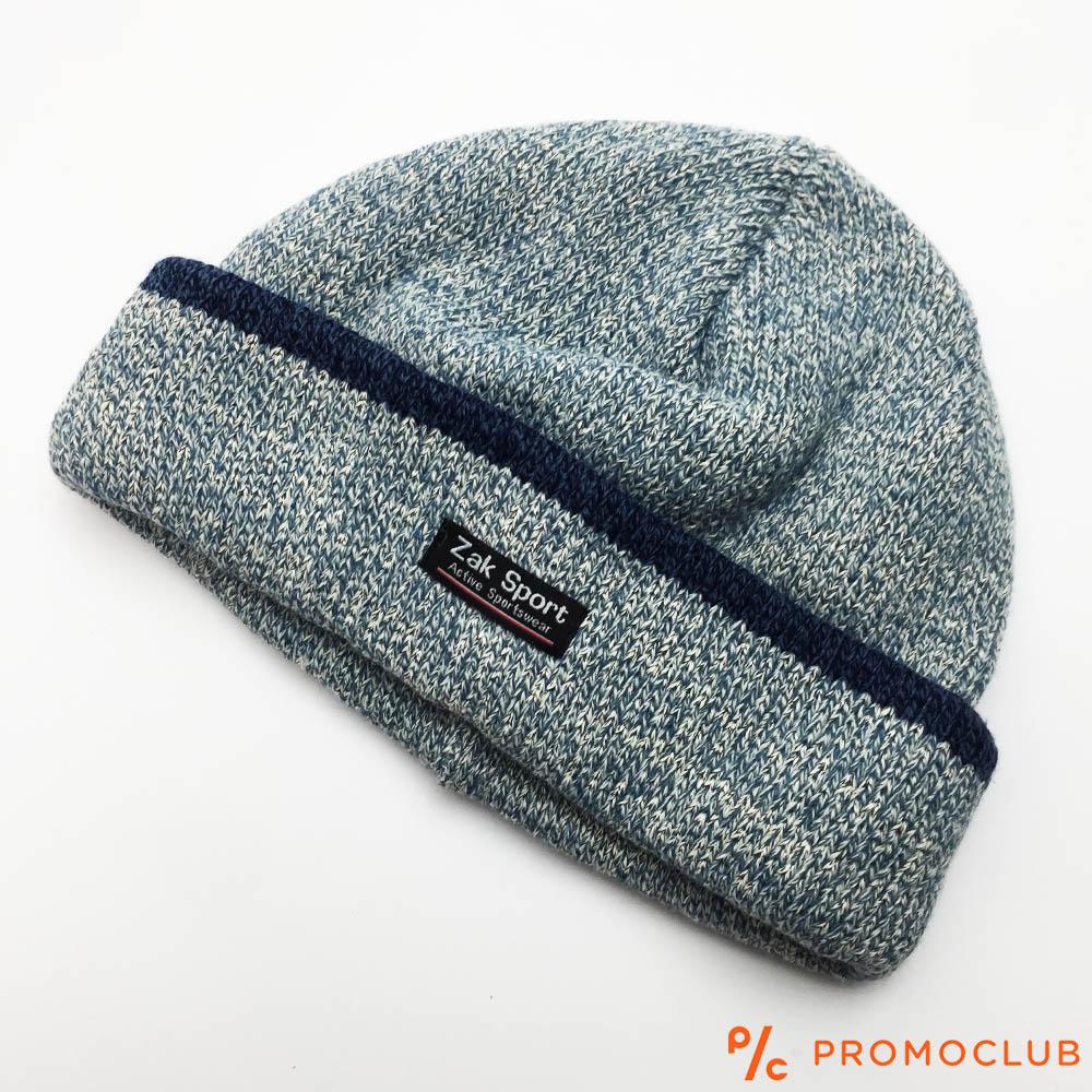 Зимна мъжка шапка ZAK SPORT, дебела и топла, 50% вълна, СИВА