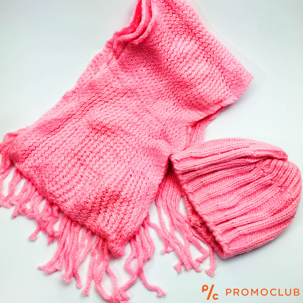 Комплект зимни шапка и шал ZAG PINK, супер меки и нежни