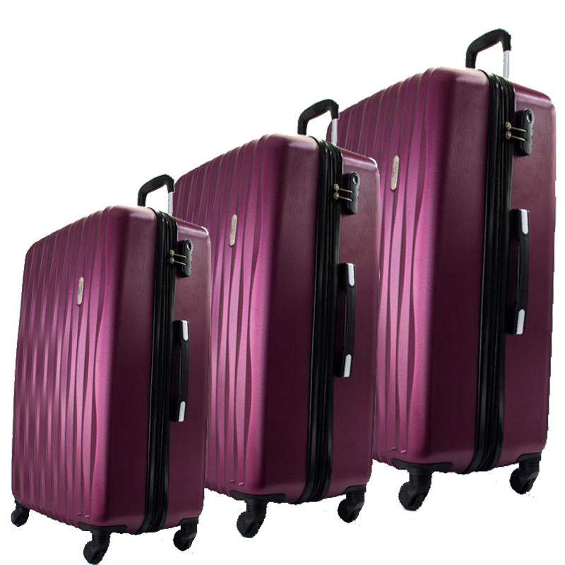 Комплект 3 броя ABS куфари ART GALERY DaVinci 8076, скрит механизъм, BORDEAUX