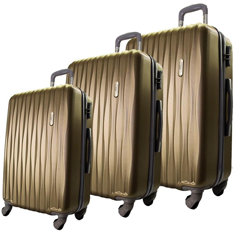 Комплект 3 броя ABS куфари ART GALERY DaVinci 8076, скрит механизъм, GOLD