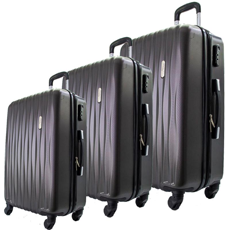 Комплект 3 броя ABS куфари ART GALERY DaVinci 8076, скрит механизъм, GRAFIT