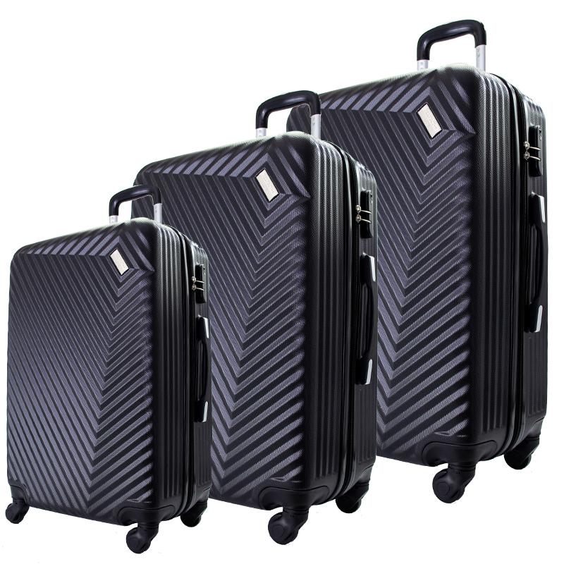 Комплект 3 броя ABS куфари ART GALERY REMBRANDT 8079, скрит механизъм, BLACK