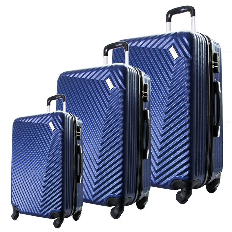 Комплект 3 броя ABS куфари ART GALERY REMBRANDT 8079, скрит механизъм, BLUE