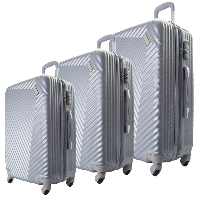 Комплект 3 броя ABS куфари ART GALERY REMBRANDT 8079, скрит механизъм, SILVER