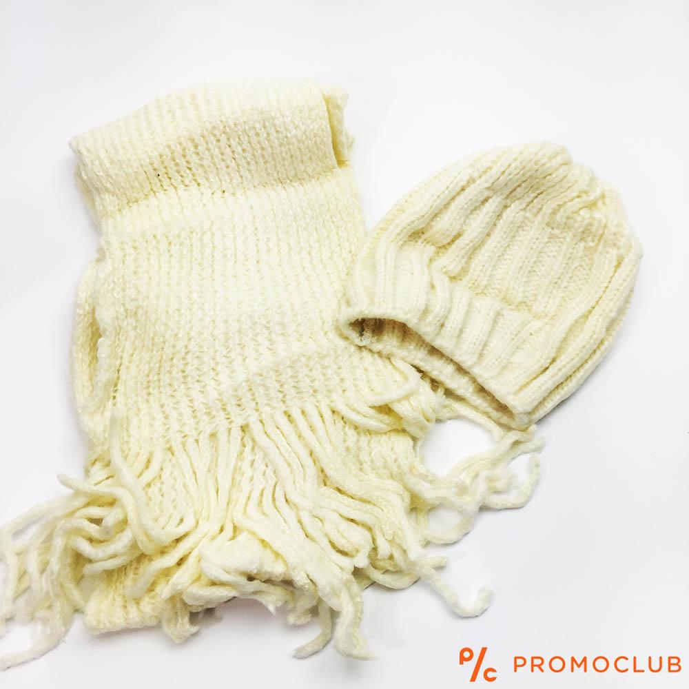 Комплект зимни шапка и шал ZAG WHITE супер меки и нежни