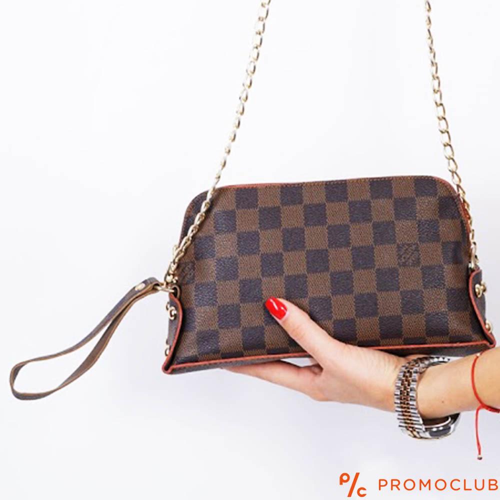 Малка дамска чанта Louis Vuitton- кафяв шахмат