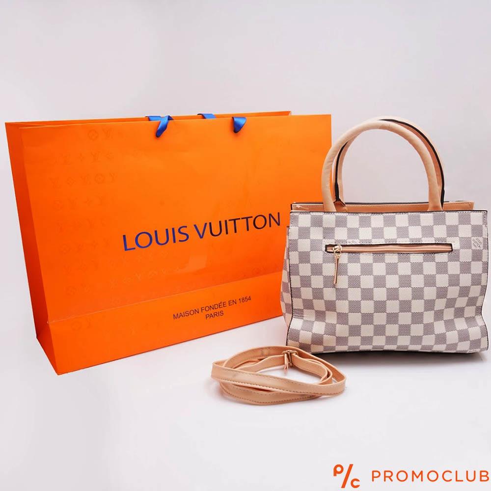 Дамска чанта LOUIS VUITTON - бял шахмат