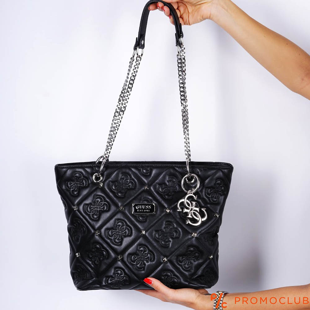 Дамска чанта GUESS BLACK, естествена кожа