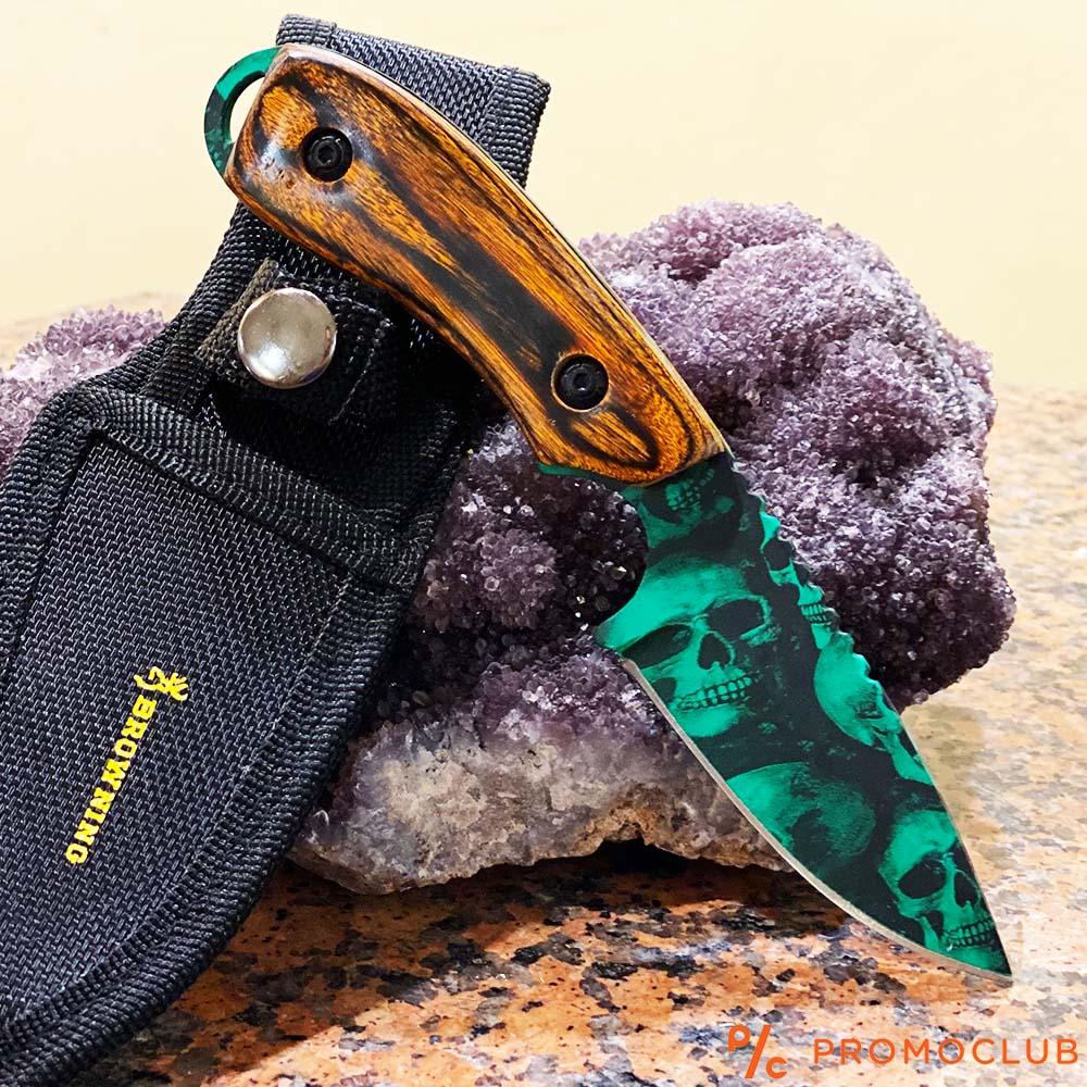 Култов нож BROWNING GREEN SKULL, кания за колан и дръжка кафяво дърво