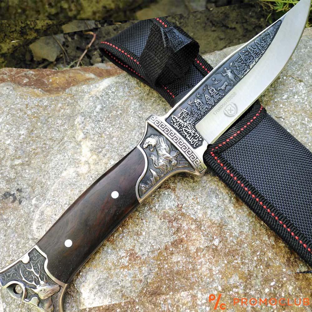 Тежък бутиков ловен нож COLUMBIA KB3188 с кания, дръжка орех и ловни инкрустации