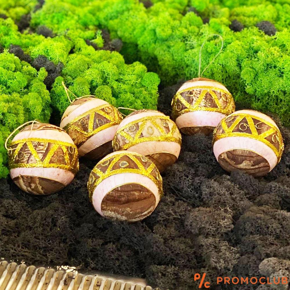 Шест луксозни ТОПКИ за украса с апликации от дървена кора и златно фолио, КЛАСА и СТИЛ