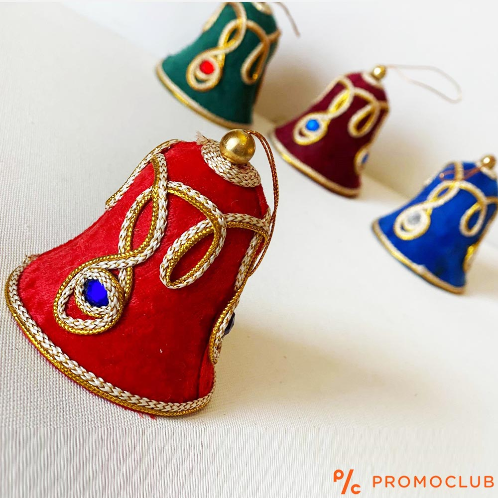 Четири луксозни КОЛЕДНИ камбани, текстилни апликации в ориенталски стил, КЛАСА и СТИЛ