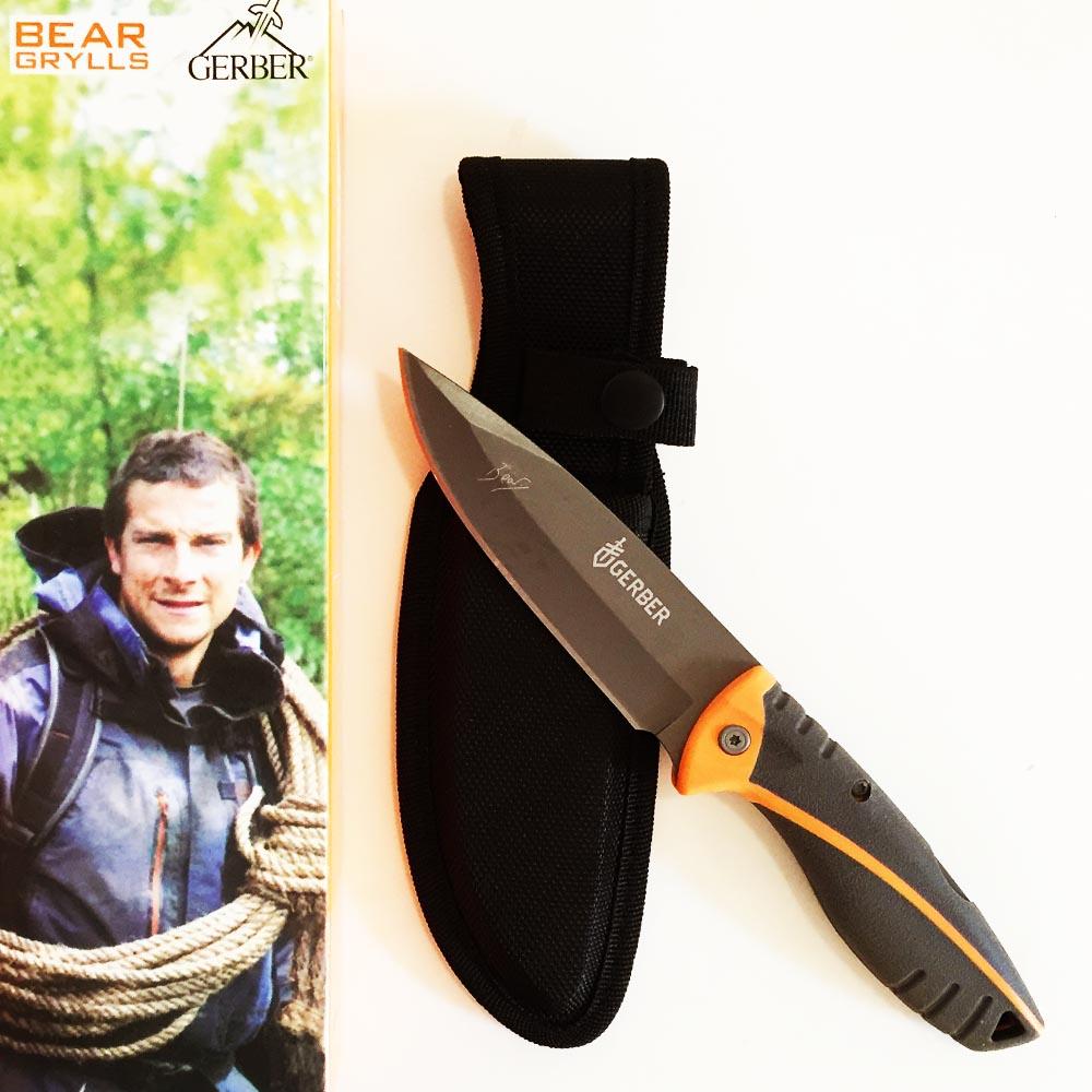 Тежък ловен нож GERBER, класически размер, карбонова кания, кутия