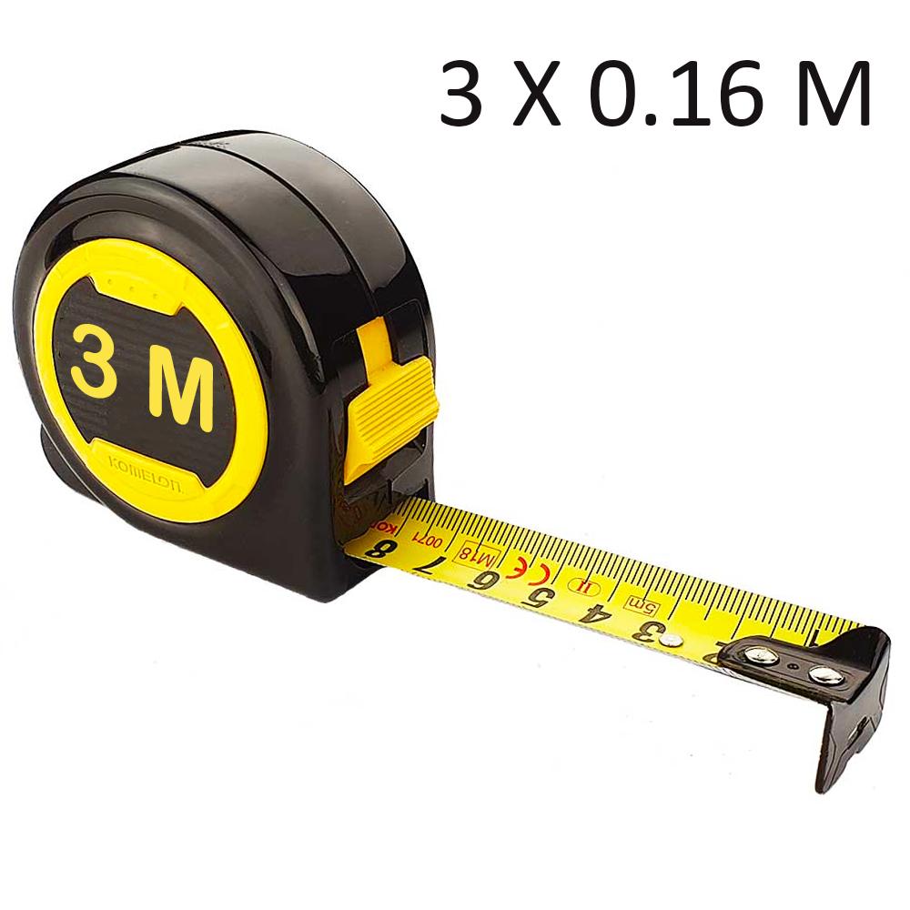 Ролетка измервателна  3.0 метра, жълта с пружинен механизъм