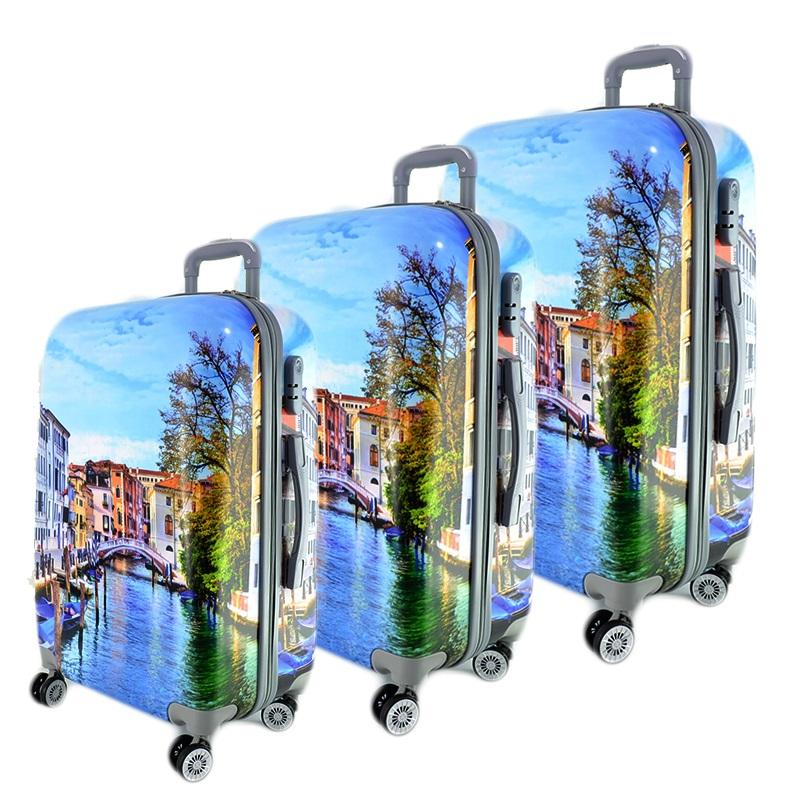 Комплект 3 броя PVC леки спинър- куфари 13009-2 VENICE - ПОЛИКАРБОН