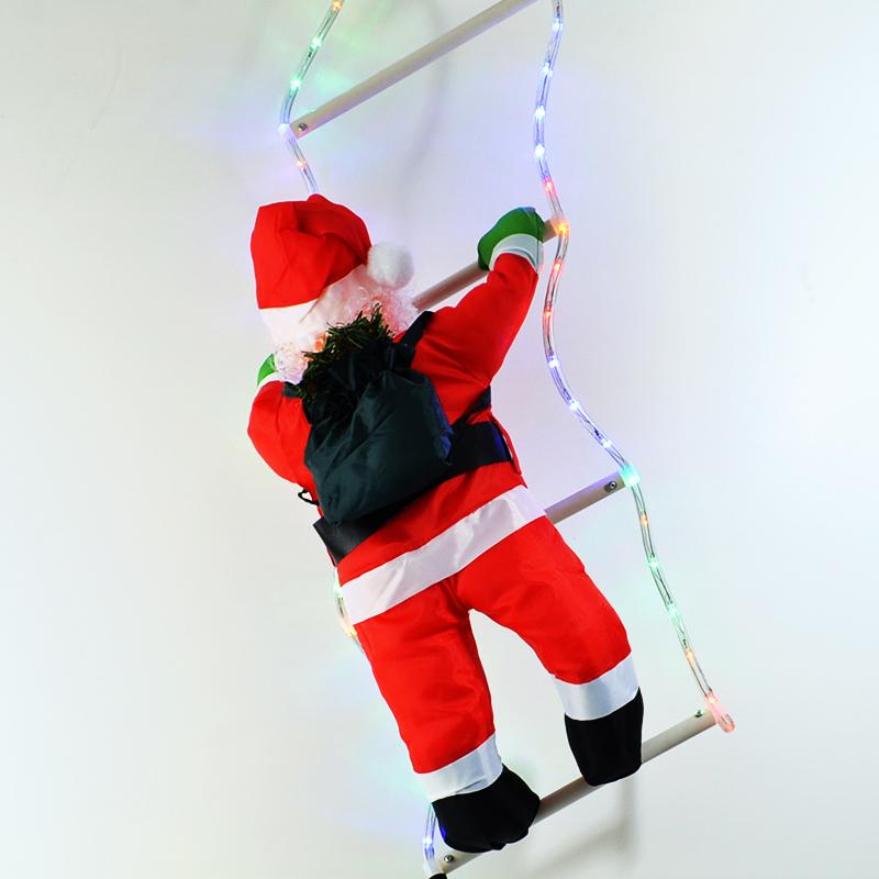 Коледен бандит - катерещ се Дядо Коледа по LED светеща стълба - 10-281