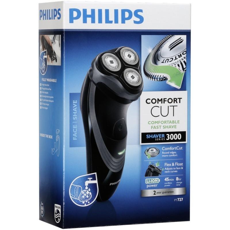 Самобръсначка Philips PT727/16, Батерия, 3 Глави, Миеща, Черна