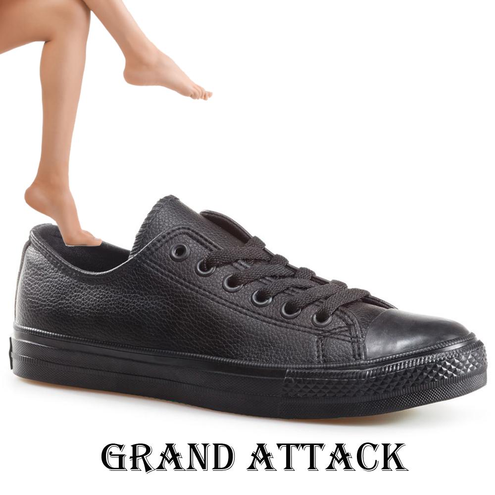 Дамски/юношески кожени спортни обувки Grand Attack 30419-1 Black, чифт чорапи - ПОДАРЪК