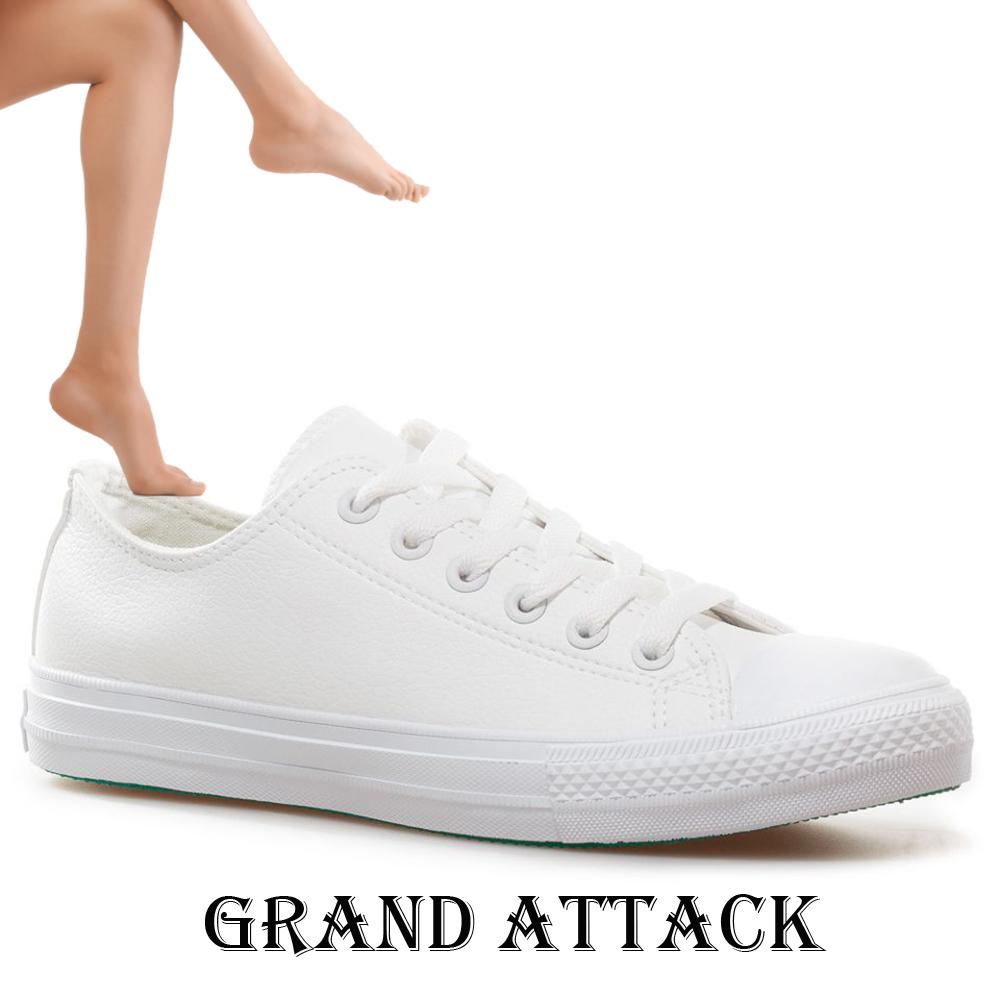 Дамски/юношески кожени спортни обувки Grand Attack 30419-2 White, чифт чорапи - ПОДАРЪК