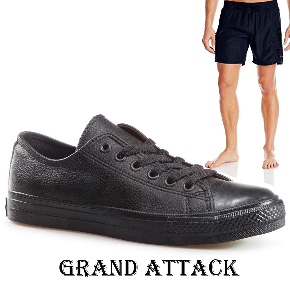 Мъжки кожени спортни обувки Grand Attack 30420-1 Black, чифт чорапи - ПОДАРЪК
