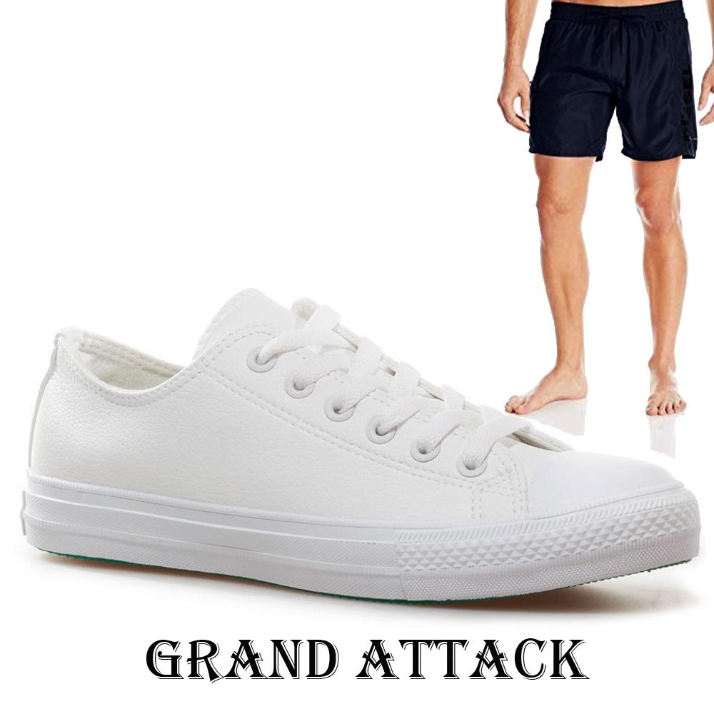 Мъжки кожени спортни обувки Grand Attack 30420-2 White