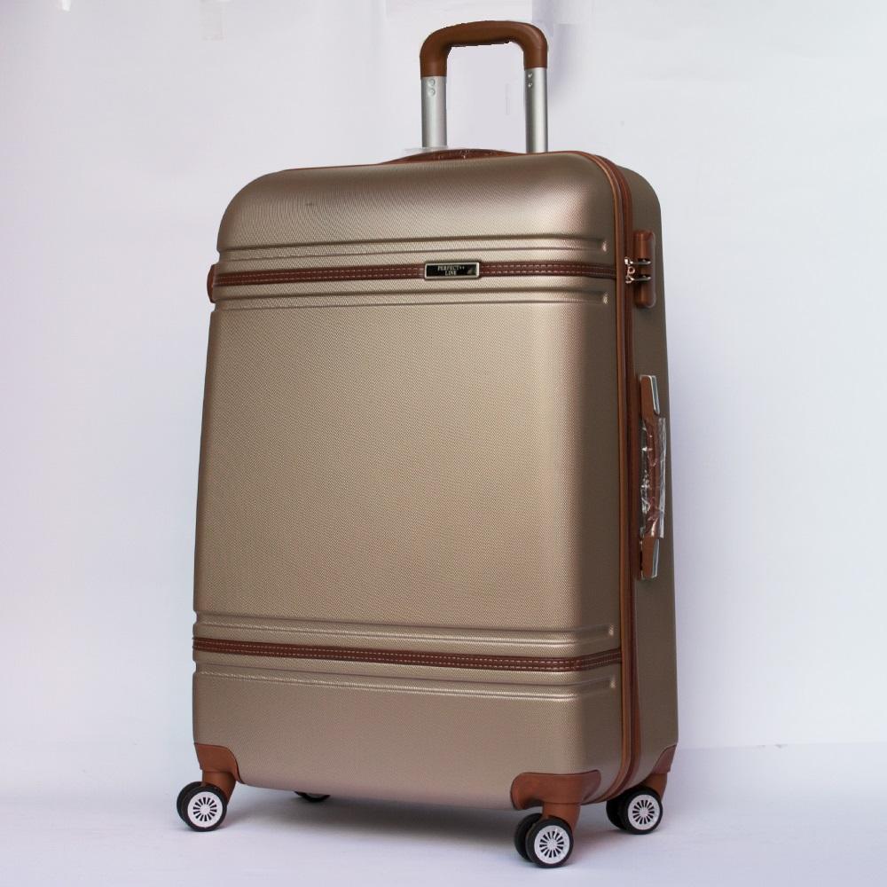 XXL размер луксозен пътнически PVC куфар-спинър 6086 DE LUX CHAMPAGNE, от най-висок клас
