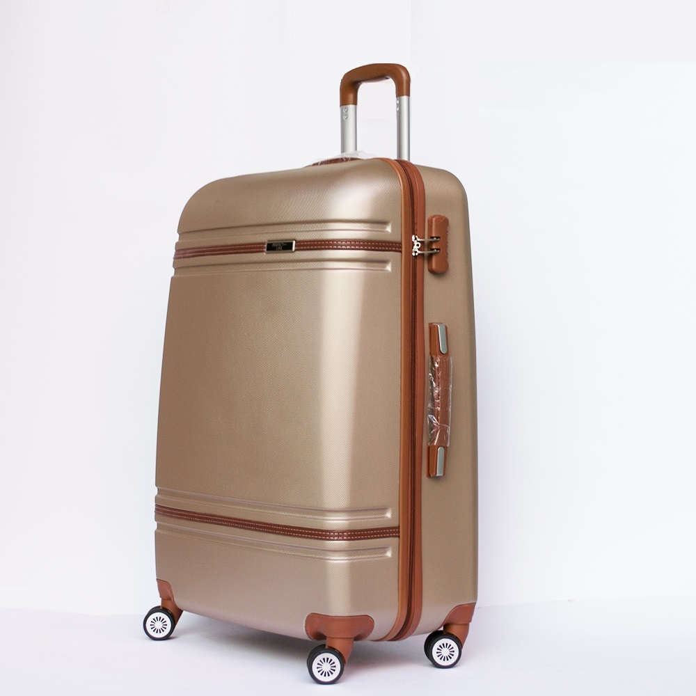 Разпродажба: среден размер луксозен авио куфар-спинър 6086 DE LUX CHAMPAGNE най-висок клас