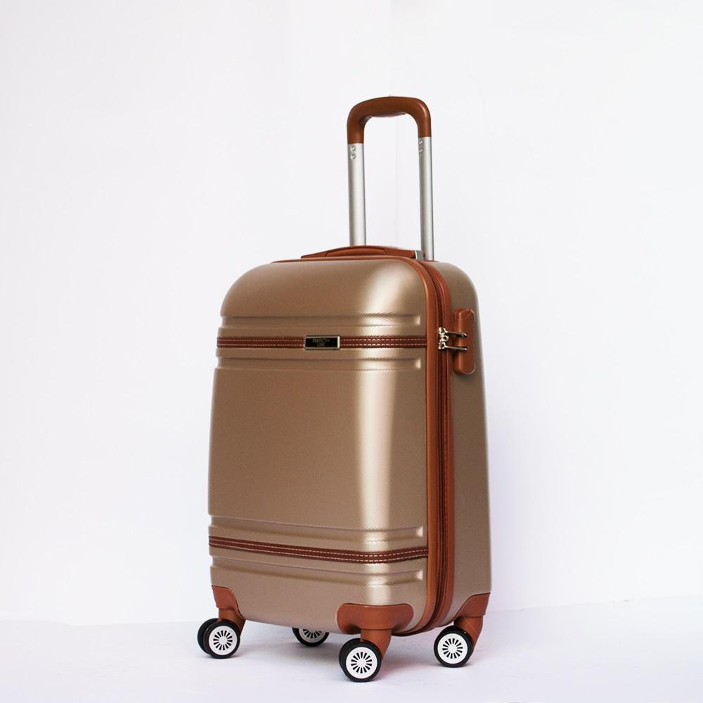 Разпродажба: ръчен размер луксозен авио куфар-спинър 6086 DE LUX CHAMPAGNE най-висок клас