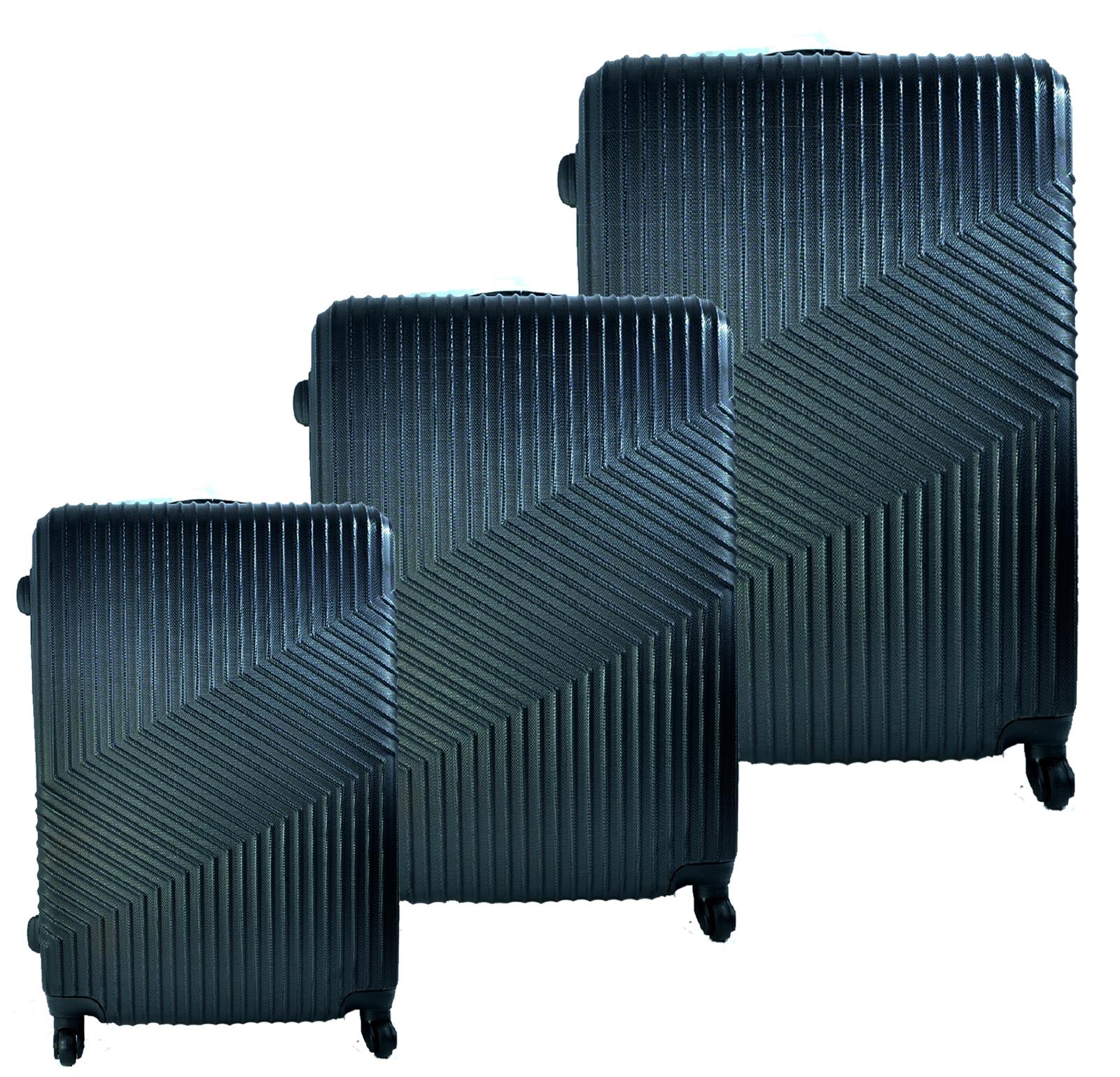 Луксозен комплект от 3бр.пътнически куфари ABS-8021 Черен